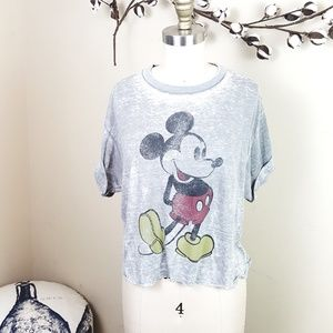 Gray Distressed Disney Mickey Mouse Cropped Tee